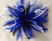 Royal Blue, Black, & White Feather Fascinator Hair Clip Accessory