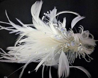 Ivory & White handmade in the USA Bridal Wedding Fascinator Feather Hair Clip crystals Ostrich pearls
