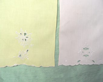 Two embroidered linen guest hand towels / vintage pale peach and yellow