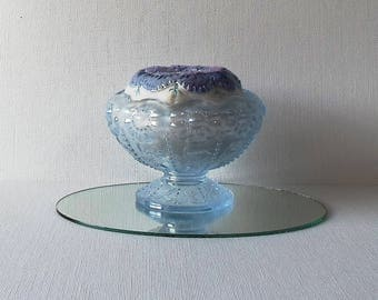 Handmade Pincushion Felted Wool Blue & Lavender Blossom in a Scalloped Iridescent Frosted Blue Glass Pedestal Dish