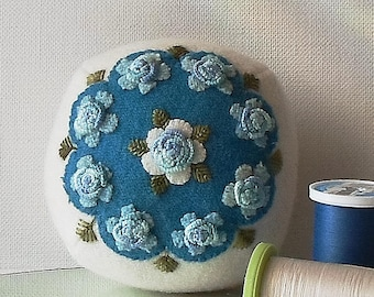 Handmade Pincushion Felted Wool Blue Bouquet on a White Pincushion