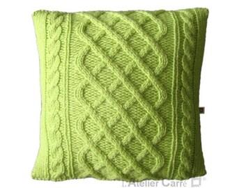 Cover cushion twisted, pistachio green color, unique