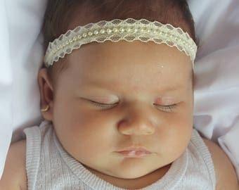 Christening Headband, Baby Halo Headband, Baby Lace Headband, Beige Baby Headband, Pearls Headband, Baptism Headband, Wedding Headpiece
