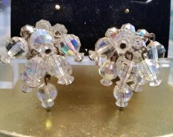 Vintage Laguna Crystal Clip On Earrings. Formal Aurora Borealis Dangling Crystal Earrings. Sparkling Crystal Dangling Clip On Earrings.1 1/8