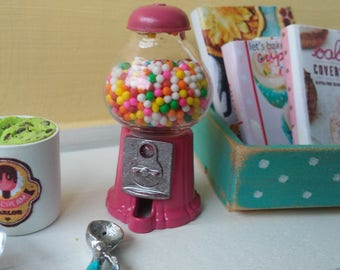 1:12 Miniature Scale Pink Gumball Machine