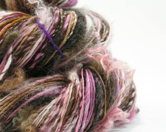 Handspun Art Yarn, Weaving Yarn, Pink Brown, Textured Yarn, Knitting, Mixed Media, Handspun Yarn, Art Yarn, Worsted Weight Yarn - ECLIPSE