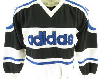 Vintage 90s Adidas Run DMC Sweatshirt Mens L Hip Hop Striped Trefoils [H81U_1-2_Shelf]