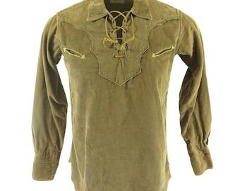 Vintage 60s Western Shirt Mens M Corduroy Brown H BAR C Ranchwear Leather Laces [H89C_0-14]