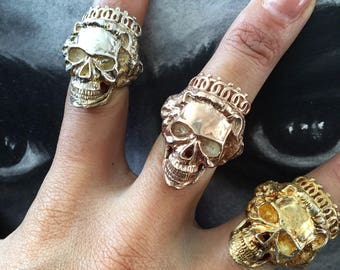 Sterling Silver Skull Queen Ring Silver King Skull Ring Baby King Skull Ring Royalty Skull Ring Skull Crown Ring Queen Elizabeth Skull Ring