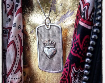 Sterling Silver Heart Dog Tag Heart & Crown Dog Tag Dog Tag with Heart Crown Army Dog Tag Sacred Heart Dog Tag Military Dog Tag Navy Dog Tag