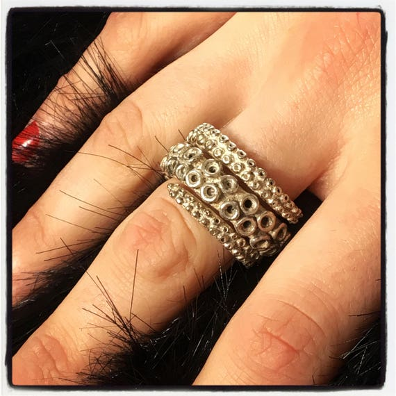 Etherial Jewelry - Rock Chic Talisman Luxury Biker Custom Handmade Artisan Pure Sterling Silver .925 Bespoke Octopus Tentacle Ring