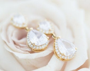 Gold Bridal Earrings, Gold Wedding Earrings, Gold Crystal Earrings, Gold Wedding Jewellery