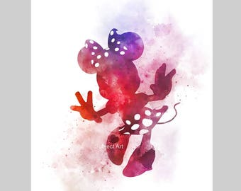 Minnie Mouse inspired ART PRINT illustration, Disney, Wall Art, Home Decor, Gift