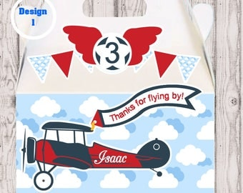 Airplane party favor box, Airplane gable box, 10 Airplane party favor gable box, Plane favor box