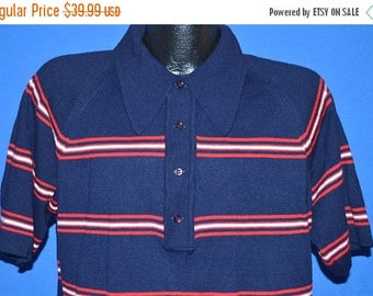 ON SALE 70s Cotlers Striped Polo Sweater Shirt Medium