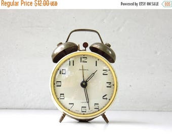 ON SALE Vintage Mechanical Alarm Clock - JANTAR - from Russia / Soviet Union / Ussr