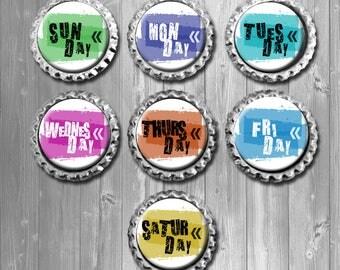 Colorful Weekday Calendar Bottle Cap Magnets, Fridge Magnets - Set of 7