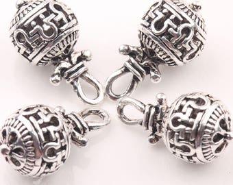 4 breloques argent Bali, filigrane d'argent, perles robustes, breloques Aztèques, tribal, Bohème, breloques USA