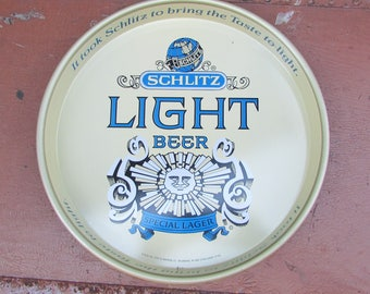 SCHLITZ LIGHT BEER Metal Serving Tray  Special Lager 1976