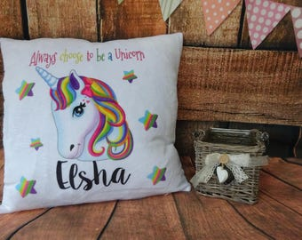 Personalised Girls Unicorn Pillow, Cushion, 40cm x 40cm White Fleece like Material Super Soft, Always be a a Unicorn