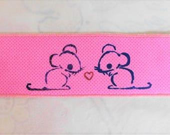 Two Mice Fabric Bookmark
