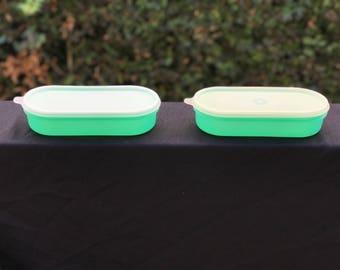 Set of 2 Vintage Jadite Green Tupperware