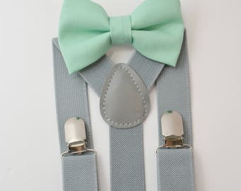 Suspenders SET 8months- ADULT Mens Kids Children Baby Boys Light Gray Suspenders & Mint Green bow tie Wedding Page Boy Groom Set