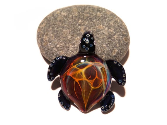 Baby Turtle - Inferno Turtle Pendant - Glass Pendant - Glass Jewelry - Glass Art - Blown Glass - Artist Signed - Detail of Pure Silver