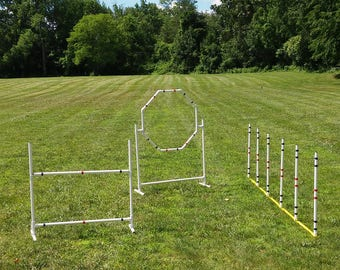 Dog Agility Equipment Complete Starter set| 3 Obstacles|Weave Poles-Bar Jump and Hoop Jump.