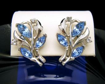 Vintage Crown Trifari Light Blue Rhinestone Earrings Silver Tone Foliate