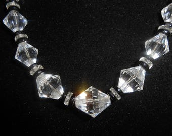 Art Deco Crystal Necklace Graduating Bi Cone Clear Crystals Black Accents Chain Strung