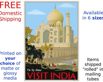 The Taj Mahal - Visit India - Vintage Style Travel Poster (187031763)