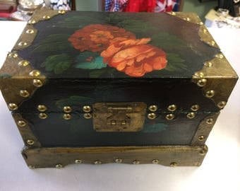 Gorgeous hand painted box. With brass fittings.