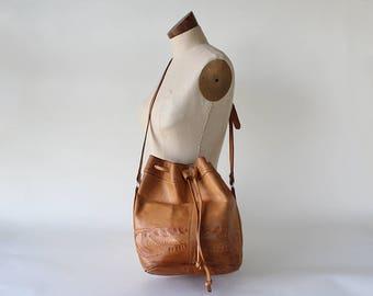 Vintage Tooled Leather Drawstring Crossbody Bucket Purse Bag