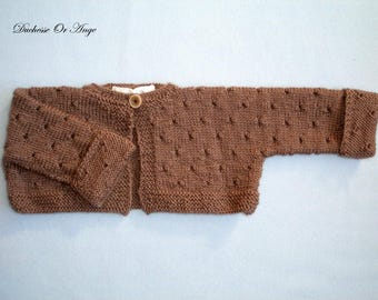Baby Cardigan short woolen Brown - 3 months