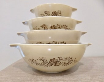 Vintage Pyrex Homestead Cinderella mixing bowls, nesting bowls, cinderella pyrex, brown homestead pyrex, complete set of 4
