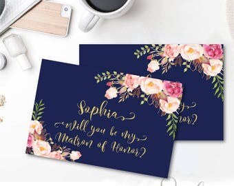 Personalized Will You Be My Matron of Honor Card Printable Navy Blue Pink Floral Boho Maatron of Honor Card Pink Peonies DIGITAL FILES, WS23