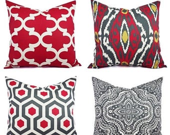 15% OFF SALE One Pillow Cover - Red and Beige Pillow - Red Decorative Pillow - Red Quatrefoil Pillow - Charcoal Pillow -  Pillow Covers - Re
