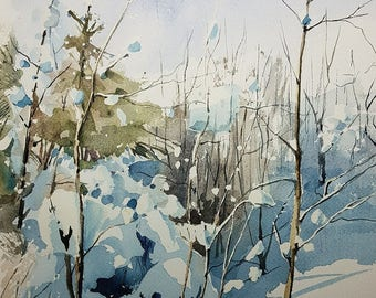 Landscape Painting, Winter Landscape Painting, Winter Landscape Wall Art, Snow Landscape