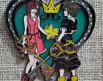 Kingdom Hearts Sora Kairi enamel jumbo pin