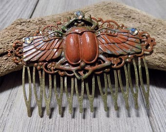 Scarab Egyptian hand painted hair comb