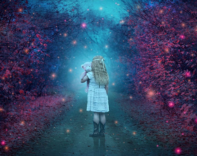premade fantasy background with magical fireflies in blue