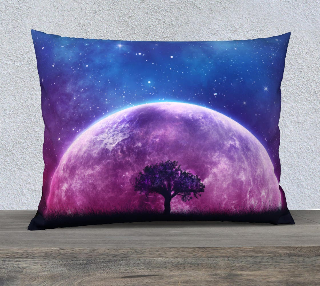 Galaxy Cushion Cover Moon Throw Pillow Tree Of Life