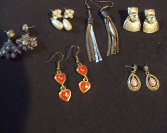 Vintage earrings 6 pr pierced dangles posts and hooks mixed metals, rhinestones
