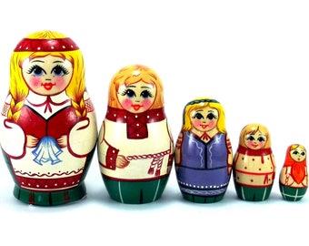 Ethnic Nesting Dolls 5 pcs Russian matryoshka doll Babushka set for kids Wooden authentic stacking handpainted dolls toys Belarus