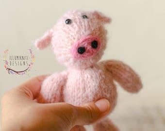RTS - Pink Romper and Stuffy Set - Newborn Pink Romper - Newborn Pig Stuffy - Farm Animal Stuffy - Newborn Knit Romper and Pink Pig Set
