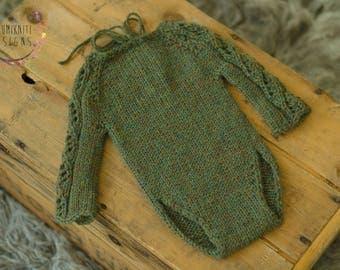 Newborn Props Lace Sleeve Romper - Saint Paddy Green Newborn Knit Prop - Newborn Saint Patrick's Day Green Romper - Long Sleeve Romper -RTS