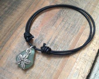 Green Sea Glass Starfish Charm Bracelet - Starfish Bracelet, Real Sea Glass Bracelet, Green Sea Glass Bracelet, Beach Glass Bracelet