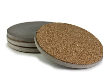 """Set of 4 Concrete Coasters 4"""" Diameter Hand Made in USA"""