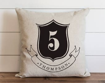 Family Crest_Last Name 20 x 20 Pillow Cover // Everyday // Wedding  // Housewarming // Anniversary // Initial // Gift // Accent Pillow